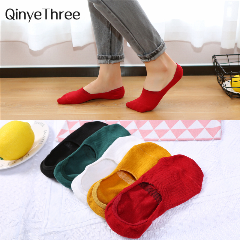 Women Fashion Summer No-show Socks Invisible Stripes Pattern Solid Color Soft Cotton Sox Cute Fresh Simple Basic Sokken