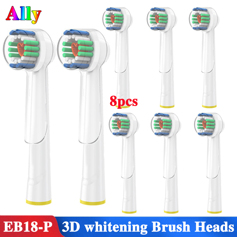 8PCS For Oral B 3D White Replacement Electric Toothbrush Heads For Braun Oral B PRO 7000 8000 Electric Toothbrush Heads image