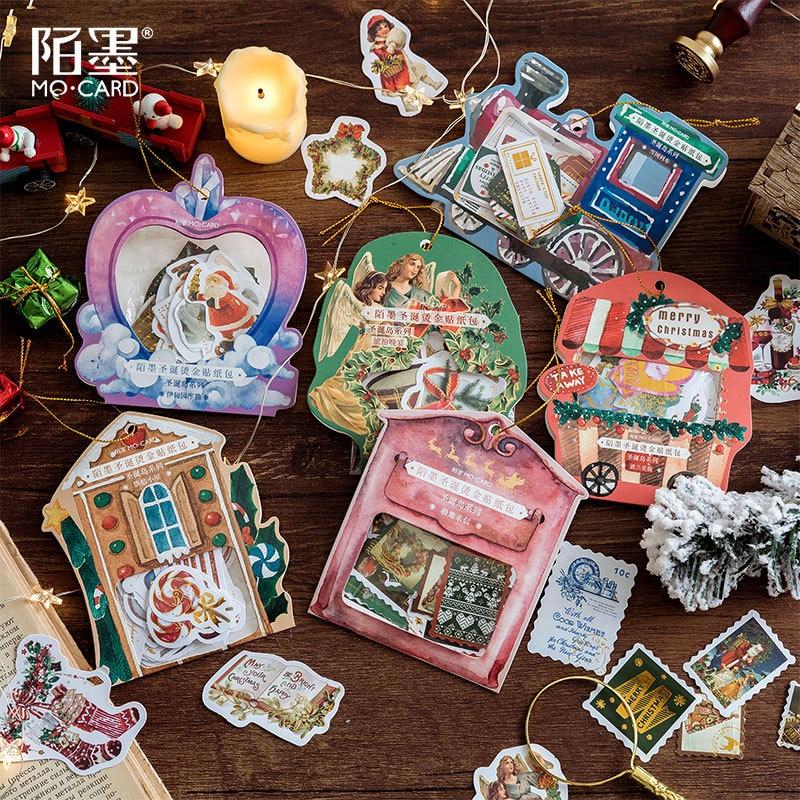 40pcs/lot Christmas Washi Sticker Set Xmas Decoration Adhesive Label For Scrapbooking Album Planner Diy Art Craft Journal Diary