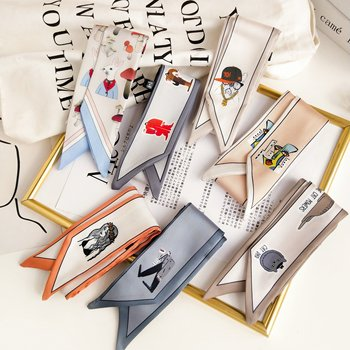 INS Korean Small Silk Scarf Female Spring Autumn Narrow Fashion  Long Strip Arm Bag Ribbon Neckerchief - discount item  15% OFF Scarves & Wraps