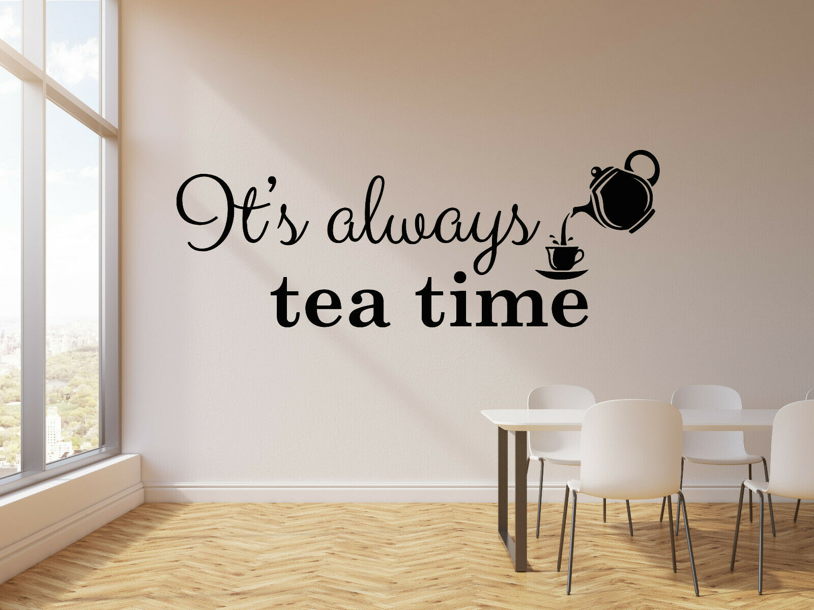 Vinyl Wall Decal It S Always Tea Time Cup Teapot Kitchen Quotes Cafe Wall Decor Stickers Wallpapers Lettering Murals Lc1839 Wall Stickers Aliexpress