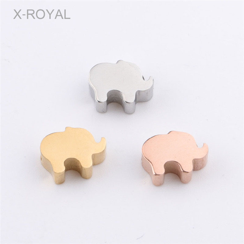 X-ROYAL 10Pcs/lot Stainless Steel Mirror Polishing Loose Beads 6*8mm Gold Rose Elephant Shape Spacer