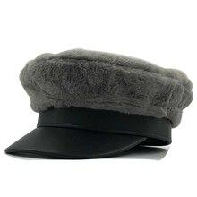 New Arrival Elegant Women Knitted Hats Rabbit Fur Cap Autumn Winter Berets Ladies Female Fashion Skullies PU Beret Hat цена в Москве и Питере