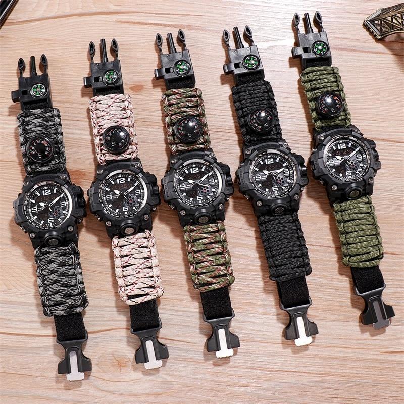 Outdoor Adventure Watch Compass Lighter Watches Men Quartz Electronic Luminous Watch 5bar Waterproof Watch Nylon Upgrade Strap