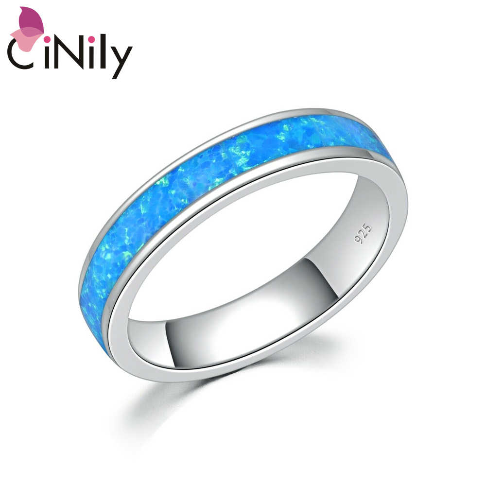 CiNily Ocean Blue Fire Opal Couples Rings Silver Plated Lovers Ring Minimalist Simple Fashion Jewelry Gifts Women Men Size 7 8