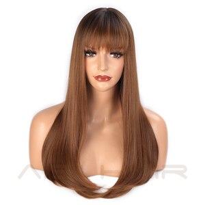 Image 2 - AISI 髪ロングストレート前髪ダークルートオンブル茶色のかつら女性 18 インチ自然な髪コスプレかつら