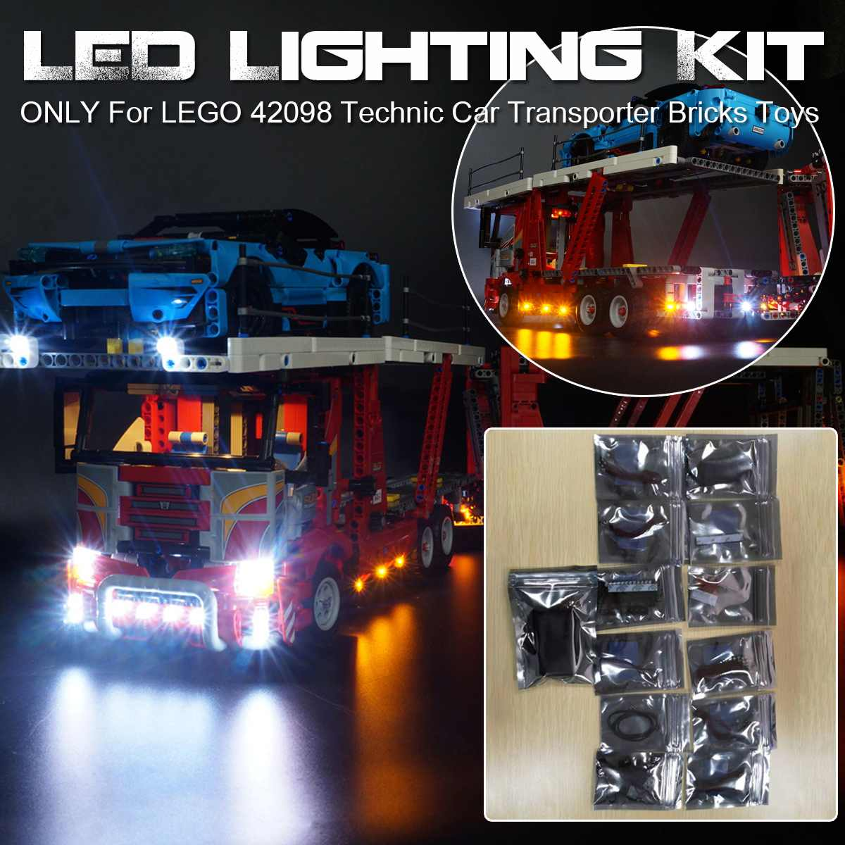 (No Included The Model) USB Powered LED Light Lighting Kit ONLY For LEGO 42098 Technic Car Transporter Beleuchtungs Bricks Toys