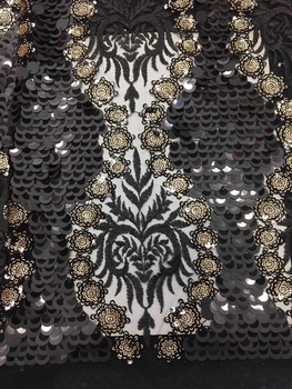 New Designs African Lace Fabric High Quality Net Lace Fabric with Sequins Nigerian French Tulle Lace for Party Dress CD2971