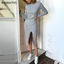 WannaThis Simple Dresses For Woman Split Knee-Length Party Dress Bodycon Long Sleeve Autumn Winter New O-Neck Solid Slim Casual