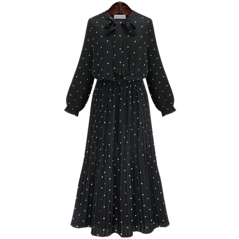 Women Bohemian Spring And Autumn Bow O neck Long Sleeve Dresses Dot Pleated Maxi Dress in Dresses from Women 39 s Clothing