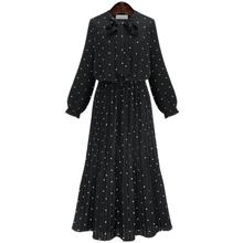 Women Bohemian Spring And Autumn Bow O-neck Long Sleeve Dresses Dot Pleated Maxi Dress