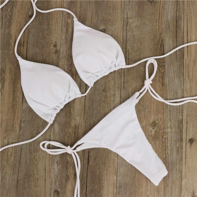 6 Warna Wanita Seksi Baju Renang Micro Bikini Set Dasi Sisi G-string Thong Beach Swimsuit