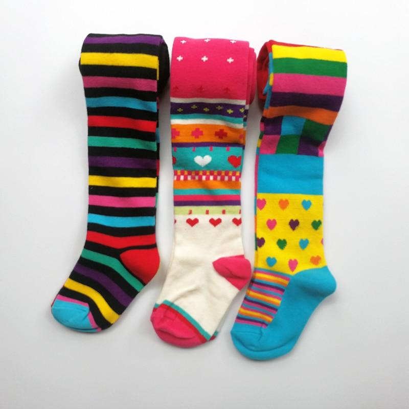 3 Pcs Pack Baby Girl Autumn Winter Striped Tights Children Pantyhose Stockings Girls Knee High Flower Kids Girl Tights 5