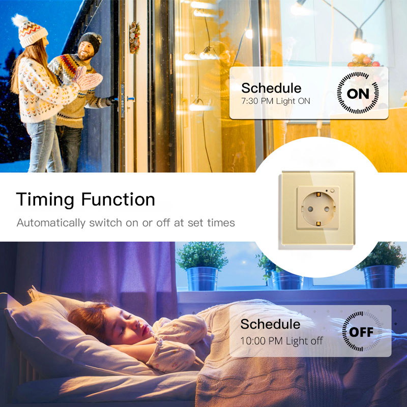 Image 4 - WiFi Smart Wall Socket Outlet Glass Panel Smart Life/Tuya APP Remote Control,Works with Amazon Echo Alexa Google Home EU FR UKElectrical Sockets   -