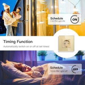 Image 4 - WiFi inteligentna ściana gniazdko szklane Panel inteligentne życie/Tuya APP pilot, współpracuje z Amazon Echo Alexa Google Home EU FR UK