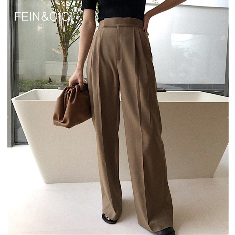 Wide Leg Pants 2019 Autumn Winter New Chic Women Female Casual Loose Thick Wide Palazzo Pants High Wasit Quality Camel White Red