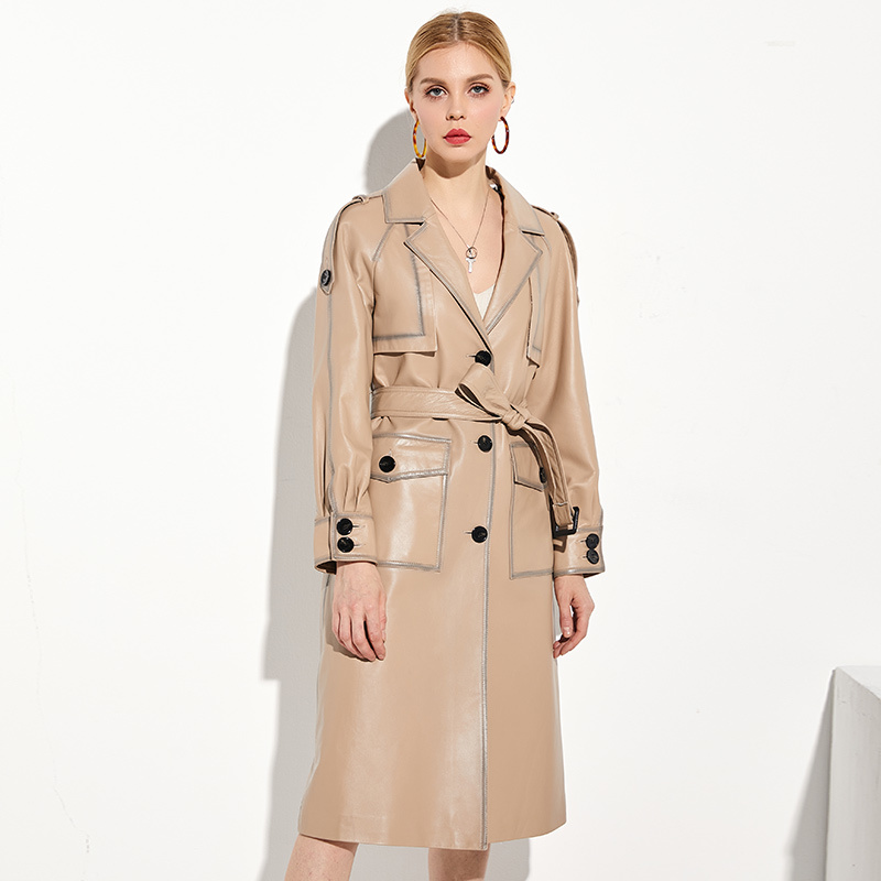 New 2020 Women Genuine Leather Jacket Natural Sheepskin Coat Long Trench Female Autumn WInter Real Leather Coats W00192 S
