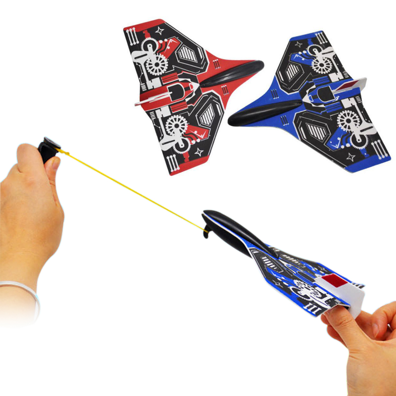 2Pcs Catapult plane Hand Launch Throwing Airplane Inertial Foam Glider Aircraft Toy Plane Model Outdoor Toys