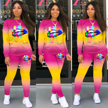 Two Piece Set Matching Sets Women Tracksuit Plus Size Clothing African Clothes Jogging Femme 2 Womens Outfits