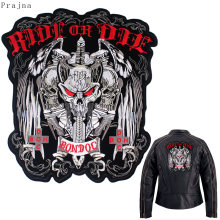 Prajna-grand Patch de motard brodé | Patch de motard rayé pour vêtements veste, Patch de repassage Rock crâne, Patch Applique(China)