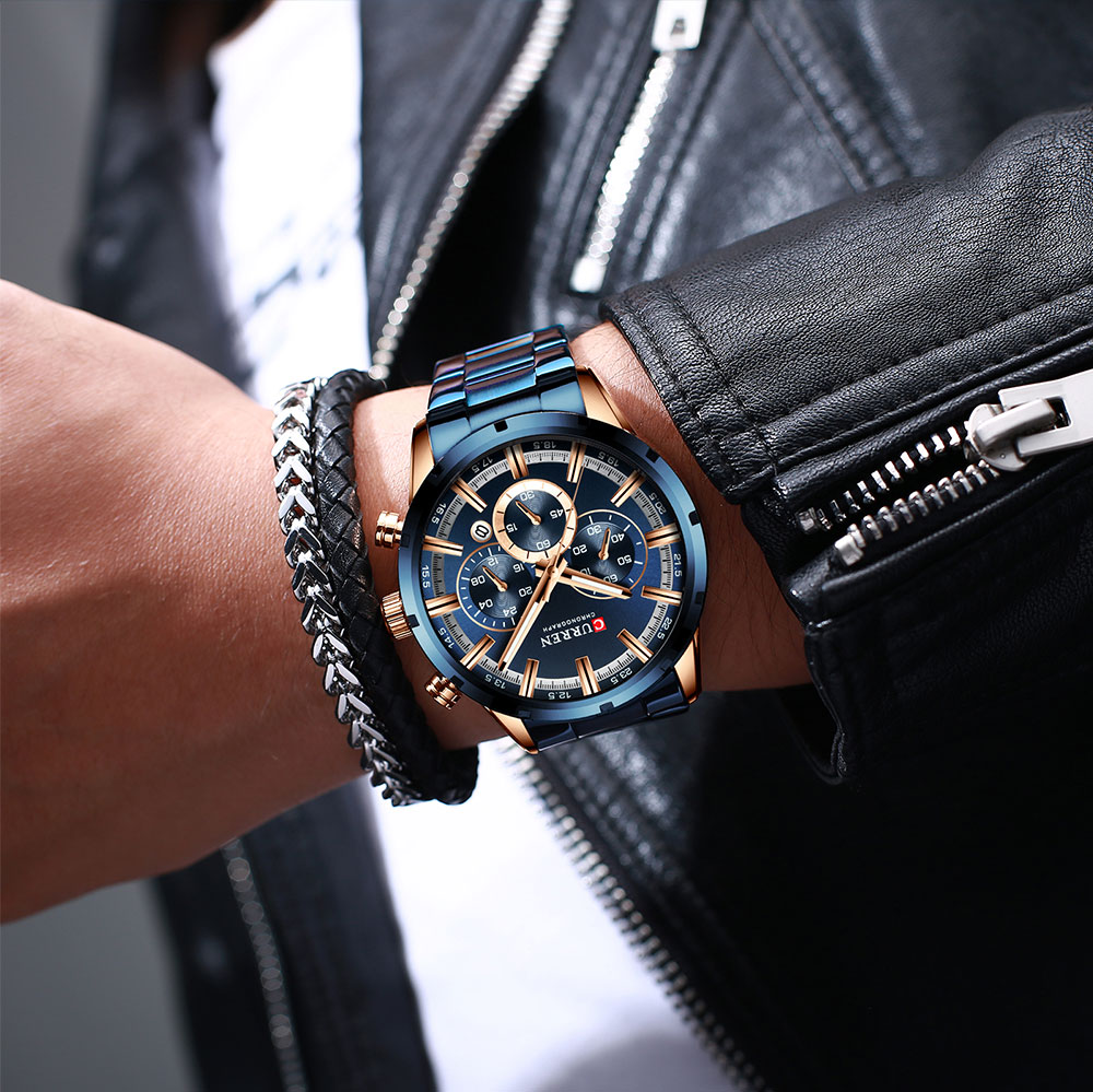 CURREN New Fashion Mens Watches with Stainless Steel Top Brand Luxury Sports Chronograph Quartz Watch Men Relogio Masculino H6f43c327f60f4329918a9c79021f519f8