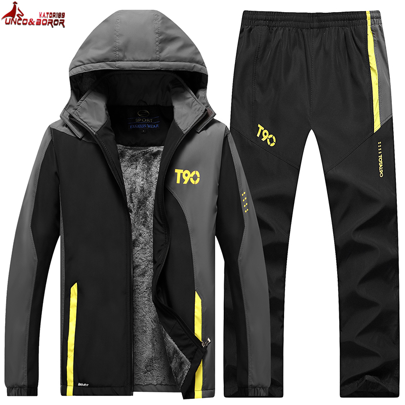Winter Tracksuit Men Thicken Fleece Jacket+Pants Two Piece Brand Clothing Set Fur Hooded Sportswear Sweatpants Track Suit Men