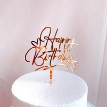 Новый Топпер для торта «С Днем Рождения» розовое золото сердце день рождения акриловый торт Топпер Для детей день рождения торт украшения д...