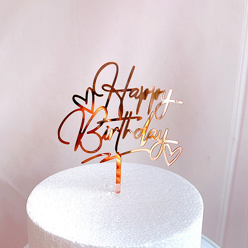 New Happy Birthday Cake Topper Rose Gold Heart Birthday Acrylic Cake Topper For Kids Birthday Party Cake Decorations Baby Shower