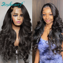 Rosabeauty, объемная волна, 13х4, кружевные передние парики, предварительно выщипываемые с волосами ребенка, бразильские человеческие волосы, дли...