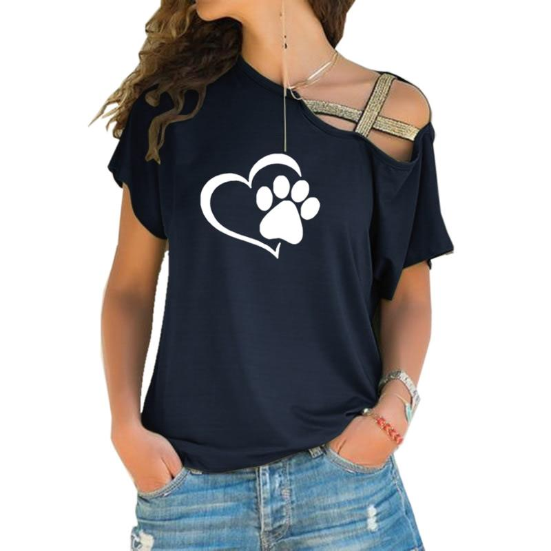 T-shirt Women Fashion Dog Cat Paw Heart Plus Size Tshirt Tops Punk Harajuku  Cross-shoulder Irregular Short-sleeved T-shirt