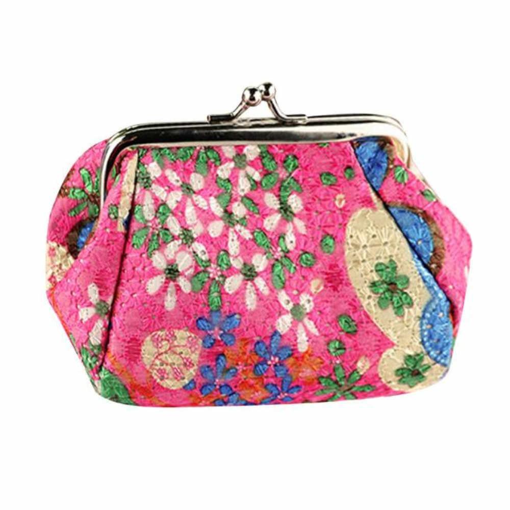 CONEED Wallet Women's Wallet Fashion Lady Retro Vintage Flower Small Wallet Hasp Purse Clutch Bag evening purse women 2019