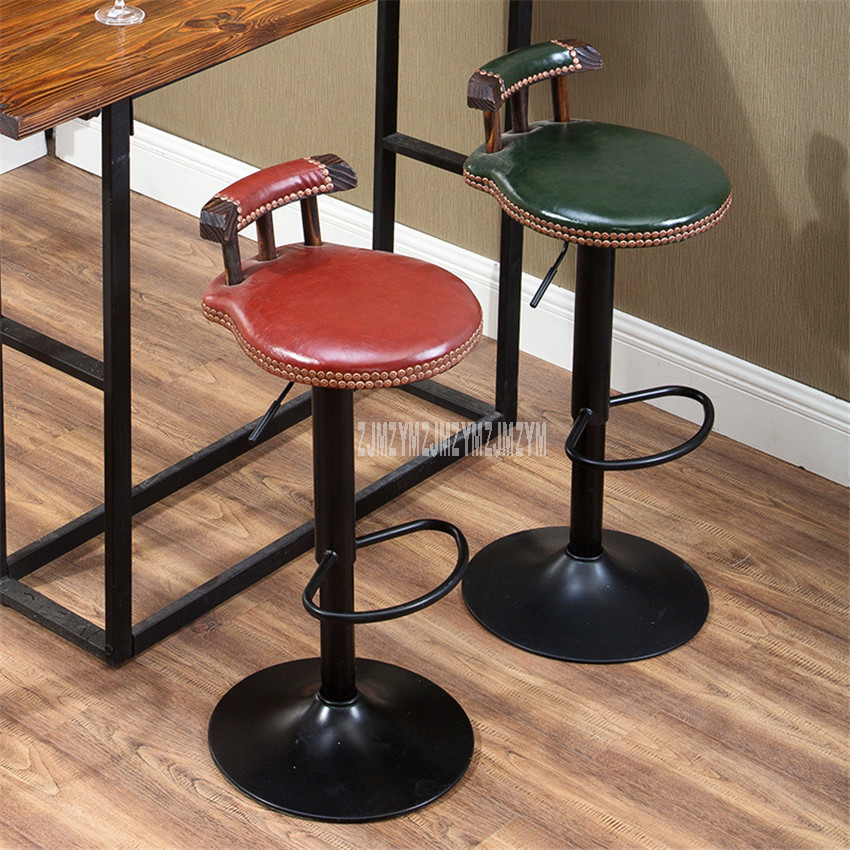 Retro Lifting Swivel Bar Counter Chair Rotating 60-80cm Height Adjustable Bar Chair PU Leather Soft Cushion High Stool Footstool