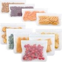 לשימוש חוזר אחסון שקיות 10 חבילה Leakproof מקפיא שקית (6 לשימוש חוזר כריך שקיות & 4 לשימוש חוזר שקית חטיף) שקית אוכל מזון אחסון Hom