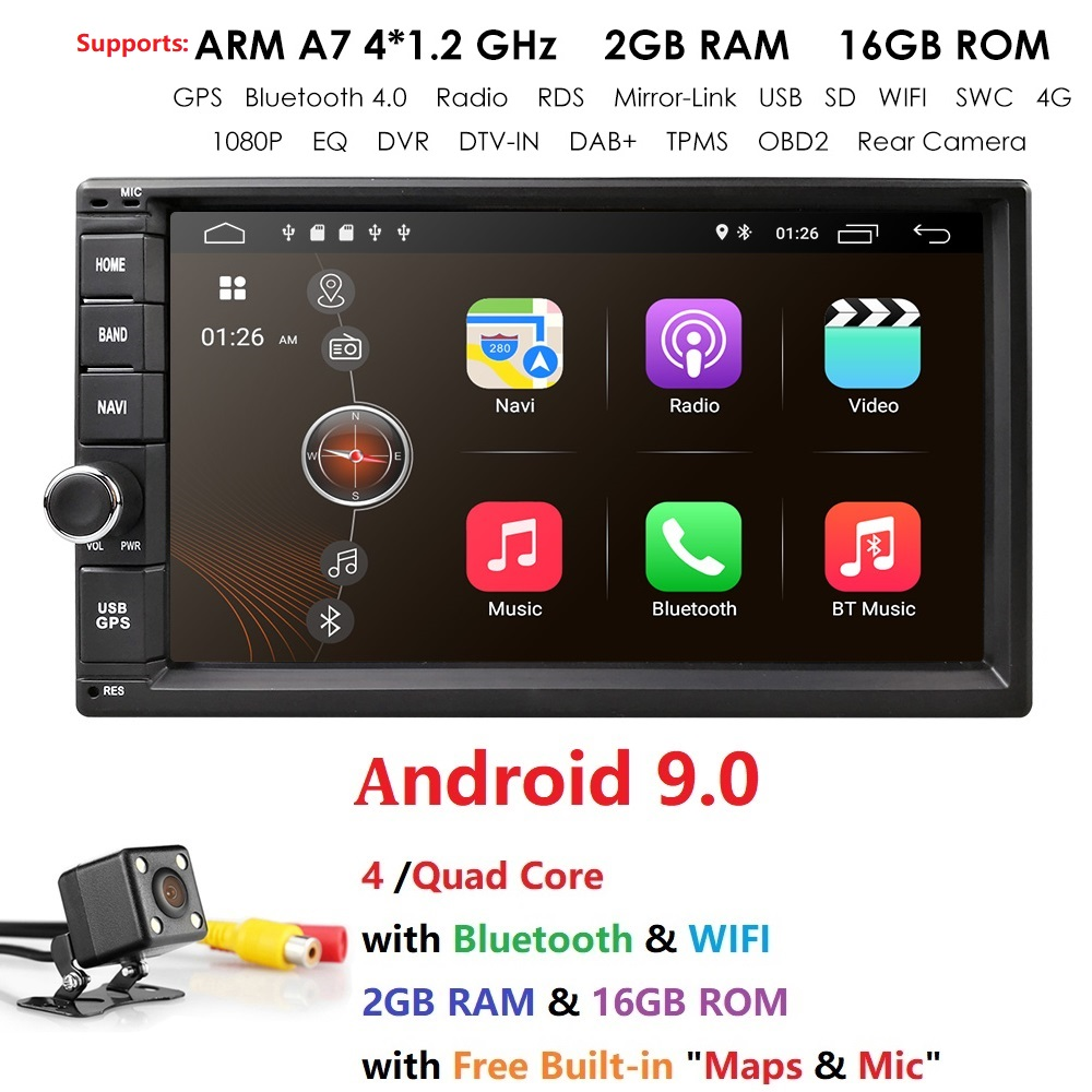 Android 9.0 7 inch Double Din Universal Car Radio GPS Multimedia Unit Player For TOYOTA Nissan Kia RAV4 Honda Hyundai image