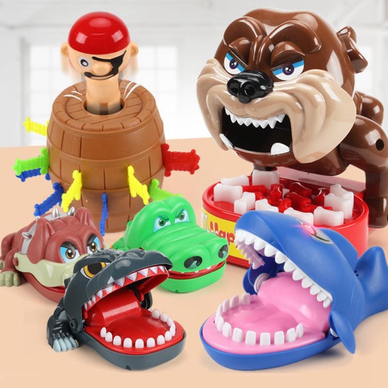 Children Toys Crocodile Shark Mouth Bite Finger Game Novelty Jokes Kids Cartoon Pirate Barrel Family Trick Funny Teeth Games