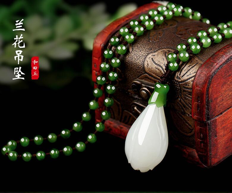 Xinjiang Hetian Jade White Magnolia Flower Pendant, Natural Jade, Jade, Sweater Chain, Jade Necklace Pendant.