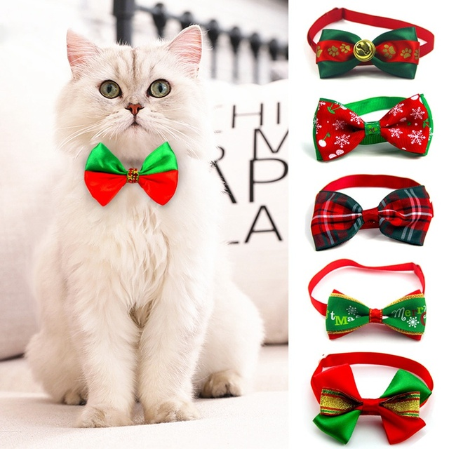 Christmas Adjustable Cat Dog Collar Holiday Cats Dog Bow Tie 1