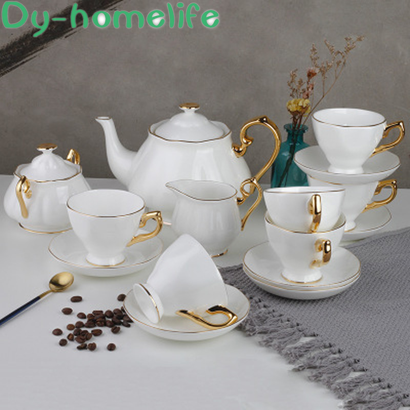 Nordic Drawing Gold White Ceramic Coffee Tea Set Restaurant Home British Style Gold-bonded Porcelain Coffee Cup Multiple Styles