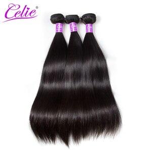 Image 4 - Celie em linha reta feixes de cabelo humano com fecho 3 pacotes com fechamento remy brasileiro feixes de cabelo reto com fechamento