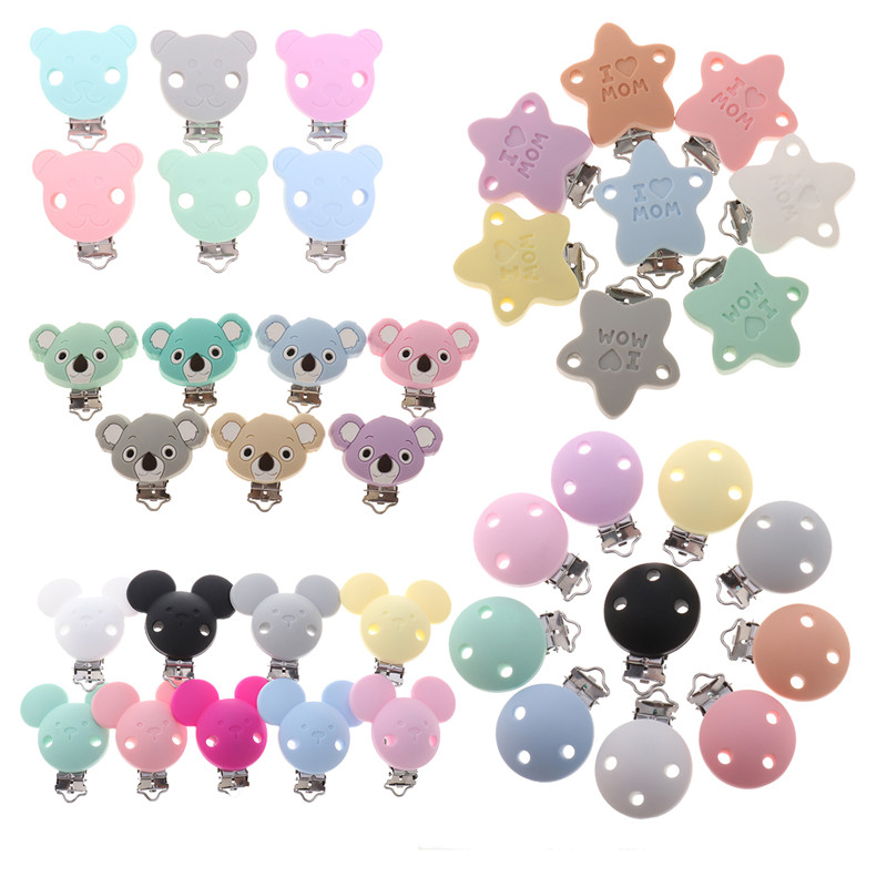 Fkisbox 10pc Bear Silicone Koala Nipple Holder BPA Free Mouse Pacifier Clips Baby Teether Necklace Chewing Teething Chain Clasps