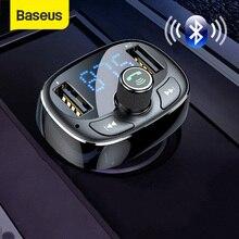 Baseus Caricabatteria Da Auto Trasmettitore FM Aux Modulatore Bluetooth Vivavoce Per Auto Lettore Audio MP3 3.4A Veloce Dual USB Caricatore Del Telefono Mobile