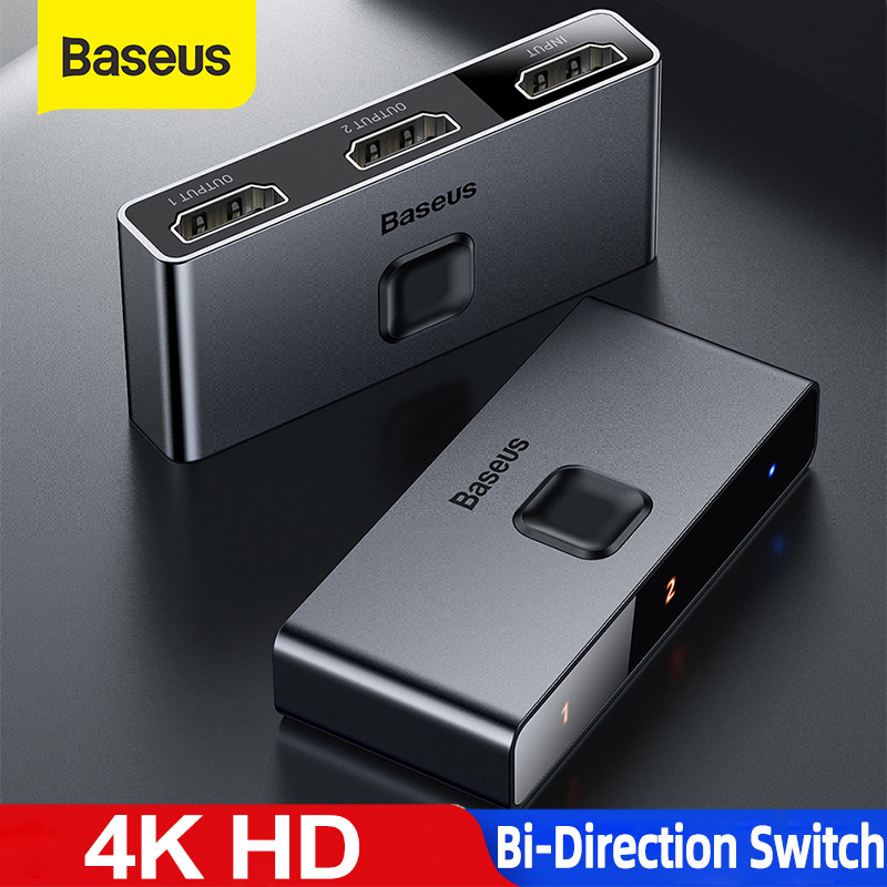 Baseus 4k hd switch hdmi-adaptador de compat para xiaomi mi caixa hd switcher 1x 2/2x1 para ps4/3 tv caixa interruptor 4k hd bi-sentido interruptor