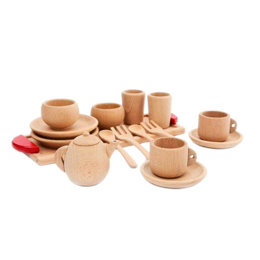 1Set Wooden Tableware Tools Tea Pot Tea Cup Teatime Party Play Toy Dollhouse Miniature Kitchen Tableware Accessories For Kids To