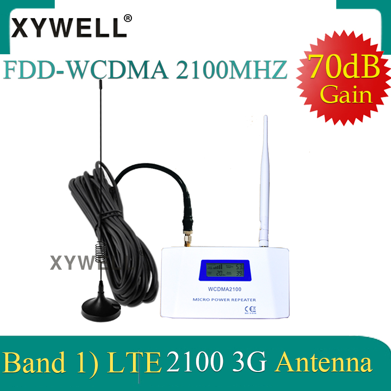 XYWELL 70dB Gain W-CDMA 2100MHz 3G Mobile Signal Booster 3G 2100 MHz UMTS Signal Repeater Cell Phone WCDMA Amplifier 4g Antenna