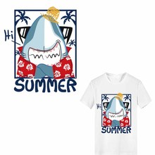 Summer Shark Patch Iron-on Transfers for Clothing DIY T-shirt Applique Heat Transfer Vinyl Letter Stickers on Clothes