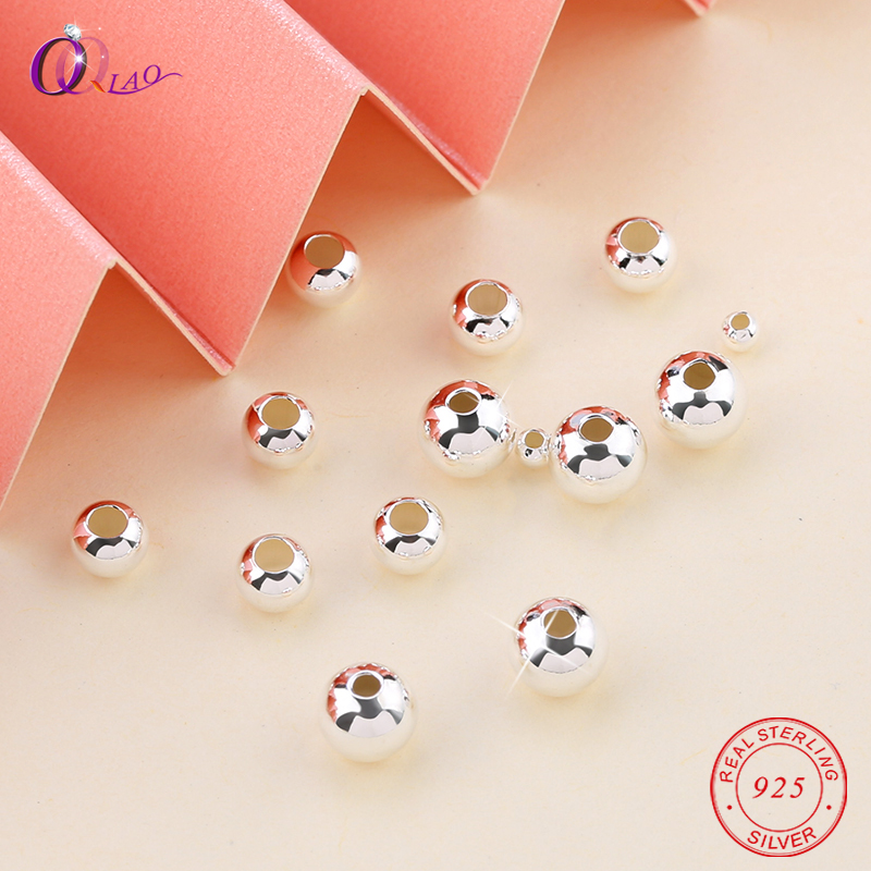 2-5MM 925 sterling silver round beads spacer beads jewelry Findings Accessories silver bead for bracelet&necklace jewelry making(China)