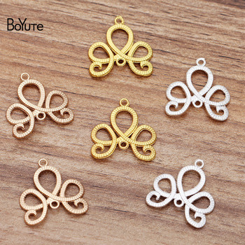 цена на BoYuTe Wholesale (100 Pieces/Lot) 21MM Metal Alloy Flower Connector Charms DIY Hand Made Jewelry Accessories Parts