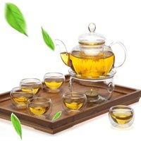 8 unids/set hecho a mano Set de Tetera resistente al calor calentador vidrio claro tetera doble pared tetera y taza de filtrado bebida decoración del hogar|Sets de juegos de té|Hogar y jardín -