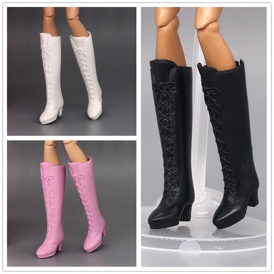 3 Colors High Heeled Long Boots Jackboots Shoes / Black White Pink Boots Doll Accessories For 1/6 Barbie Kurhn FR Doll