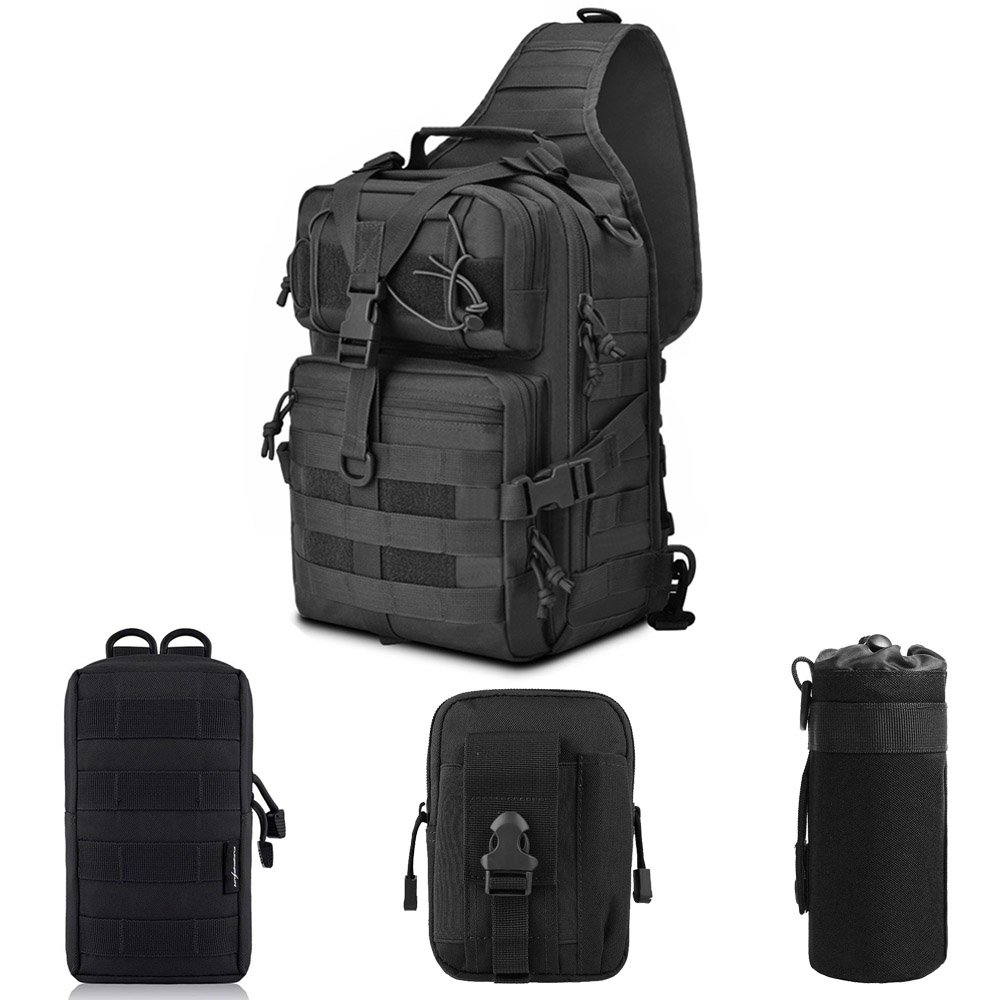 Outdoor Tactical Molle Backpack Utility Waterproof With Bottle Pouch Army EDC Rucksack For Hunting Hiking Climbing
